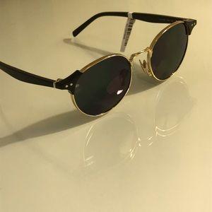 Celine Round Metal/Acetate Sunglasses
